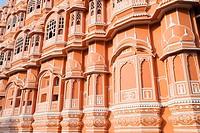 Architectural details of a palace, Hawa Mahal, Jaipur, Rajasthan, India