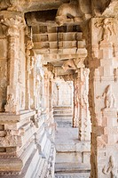 Carved columns of a temple, Krishna Temple, Hampi, Karnataka, India