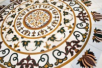 Floral pattern on the floor, Golden Temple, Amritsar, Punjab, India