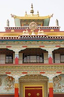 Low angle view of a monastery, Tibetan Monasteries, Bodhgaya, Gaya, Bihar, India