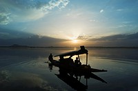 Silhouette of a person rowing a shikara, Dal Lake, Srinagar, Jammu And Kashmir, India