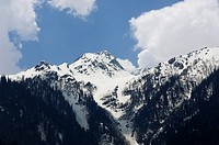 Clouds over snowcapped mountains, Sonmarg, Jammu And Kashmir, India