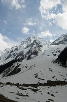 Clouds over snowcapped mountains, Thajiwas Glacier, Sonmarg, Jammu And Kashmir, India