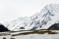 Shelter in a snow covered landscape, Thajiwas Glacier, Sonmarg, Jammu And Kashmir, India
