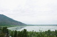 High angle view of lake, Wullar Lake, Jammu And Kashmir, India