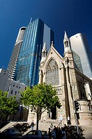The Cathedral of St  Stephen dwarfed by glass skyscrapers, Brisbane, Queensland, Australia, 2008