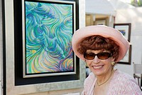Florida, Miami, Coral Gables, University of Miami, Beaux Arts Festival of Art, art show, community event, woman, painting, framed, pink hat, elegant, ...