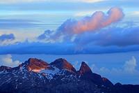 Hochfrottspitze, Maedelegabel and Trettachspitze in Allgaeu range, Seekogel above hut Memminger Huette, Lechtal range, Tyrol, Austria