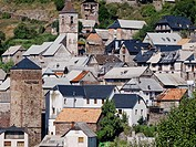 Gistaín houses with roofs and typical dual hastial chamfered and the towers of the church and tower of Casa strong Rin - Huesca - Sobrarbe - Aragonese...