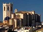 Gothic church of Santa Maria (14th century) with the bell tower and polygonal apse in foreground, San Mateo. Baix Maestrat, Castellon province, Comuni...