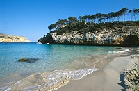 View across the bay, Cala S´Amonia, Santany, East Coast, Mallorca, Balearic Islands, Spain, Europe