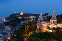 View to Fishermen´s Bastion, symbolising the seven Magyar tribes, at Castle Hill at night, Buda, Budapest, Hungary