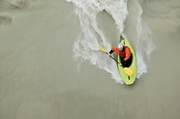 Man in a Kayak in the river Inn near Crazy Eddy in Silz, Haiming, Tyrol, Austria