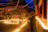 People lighting candles for the birthday celebrations for Wenshu, Shuxiang temple, Mount Wutai, Wutai Shan, Five Terrace Mountain, Buddhist Centre, to...