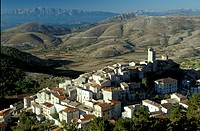The mountain village Castel del Monte in the sunlight, Abruzzo, Italy