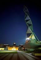 The illuminated Art Tower Mito at the Museum for Contemporary Art, Ibaraki City, Osaka, Japan