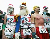 A group of marathon runners being interviewed, Siberia