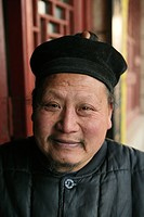 Portrait of a monk, monastery at Golden Lock Pass, Hua Shan, Shaanxi province, China, Asia