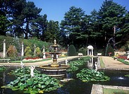 Ornamental Pool in the Italian Garden at Compton Acres, privately owned gardens open to the public on Canford Cliffs near Poole