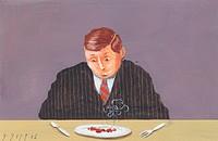 Man in suit with joke sausage illustration