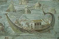 Italy - Latium region - Palestrina (Rome Province) - 1st century b.C. - Sillian age. Bireme with oars. Nilotic mosaic