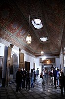Africa, North Africa, Morocco, Marrakech, Medina, Mellah, Bahia Palace, Interior, Painted Wooden Ceiling