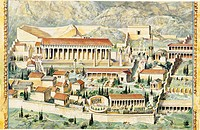 High angle view of buildings in ancient Greece, Delphi, Sanctuary Of Apollo, Greece
