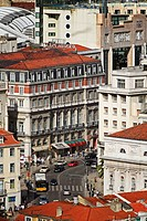 View of the street leading to the Praca dos Restaurdores from the terraces of the Castel de Sao Jorge Castle of Saint George in Lisbon Lisboa, Portuga...