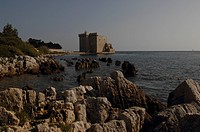 Rock formations at the coast, Fortified monastery, Saint_Honorat, Iles Des Lerins, Provence_Alpes_Cote D´azur, France