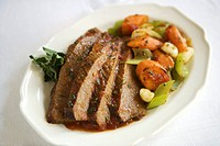 Plate of Sliced Beef Brisket with Vegetables