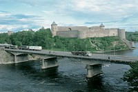 Bridge across a river with a castle in the background, Narva River, Narva, Estonia