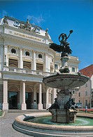 Fountain in front of a theater, Slovak National Theatre, Bratislava, Slovakia