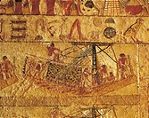Egypt - Cairo - Ancient Memphis (UNESCO World Heritage List, 1979). Saqqara. Necropolis. Private tomb of Irukaptah. Painted relief depicting fishing b...