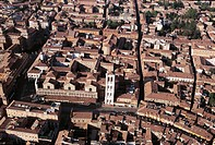 Italy - Emilia Romagna Region - Ferrara. Aerial view of Renaissance city (UNESCO World Heritage Site, 1995)