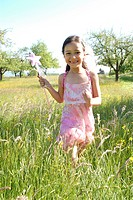 girl, flower meadow, run