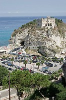 Italy, Calabria, Tropea, coast, church Santa Maria dell Isola, parking place, cars, South_Italy, Mediterranean, coast_place, place, rock, rise, constr...