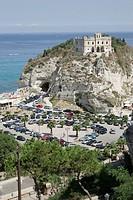 Italy, Calabria, Tropea, coast, church Santa Maria dell Isola, parking place, cars, South_Italy, Mediterranean, coast_place, place, rock, rise, constr...
