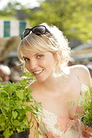 Week_market, woman, herbs, chooses, smiling, portrait, series, people, customer, blond, kitchen_herbs, selects, market, market_stands, selection, offe...