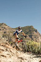 mountainbiker, athletically, mountain scenery, full_length