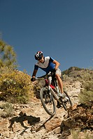 mountainbiker, athletically, nature, full_length