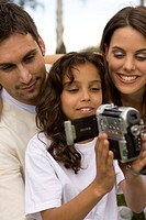 Family, camcorders, joy, films smiling, outside,