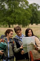 Group, hikes, leisure time, hiking_map, nature, semi_portrait, outside,