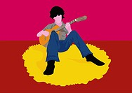 Illustration, boy, floor, sitting, guitar, plays, musicians, man, young, dark_haired, full_length, music, carpet, alone, relaxing, practices, music_in...