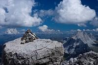 Austria, Vorarlberg, Montafon, Rätikon, Schesaplana, marking, ´rock cairns´, panorama