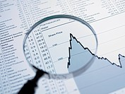Magnifying glass and descending line graph and list of share prices