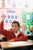 Boy raising hand in classroom