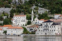 Perast,old town,Church of Our Lady of Rosary,octogonal tower,Kotor Bay,Montenegro