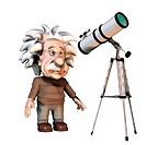 Albert Einstein. Cartoon of the Swiss_German physicist Albert Einstein 1879_1955 looking through a telescope. Einstein received the 1921 Nobel Prize f...