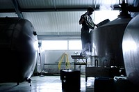 Artisan brewery. Worker checking the temperature of the brew_mix in vats at a brewery that makes artisan beer. Artisan beer is brewed using traditiona...