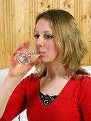 Girl drinking water, mineral water